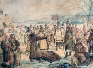 Сбор ясака казаками Енисейской губернии. XIX в., акварель неизвестного художника